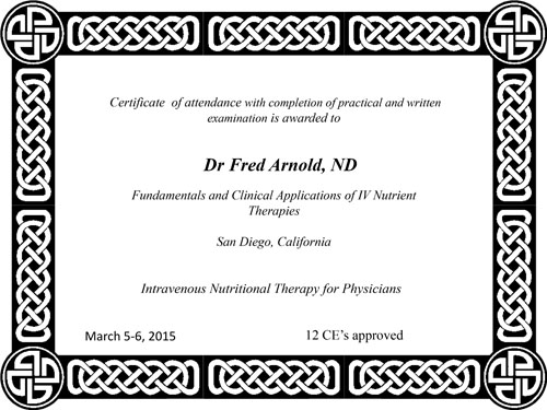 Intravenous Nutritional Therapy for Physicians Certificate