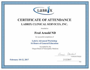 Labrix Certificate of Attendance