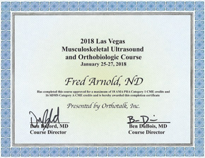 Musculoskeletal Ultrasound Conference 2018 Certificate